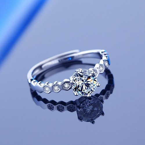 925 Sterling Silver Moissanite Ring Female Ins Japanese and Korean Creative Honeycomb Six Claw 1 Karat Open Buckle Ring