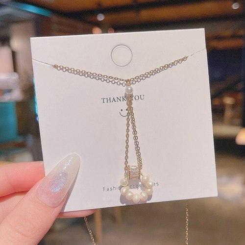 Korean New Fashionable Pearl Long Tassel Titanium Steel Necklace Women's Geometric Design Sense Temperament Clavicle Chain