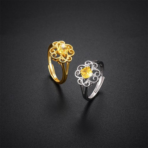 Retro Ring Trendy S925 Sterling Silver Women's Simple Yellow Zircon Flower Open Ring