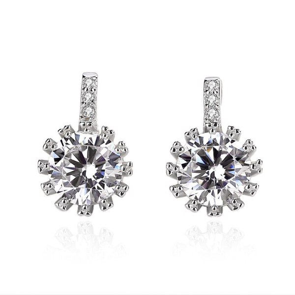 925 Silver Earrings Women's Korean-Style Diamond Sterling Silver Ornament Factory Direct Sales Delivery