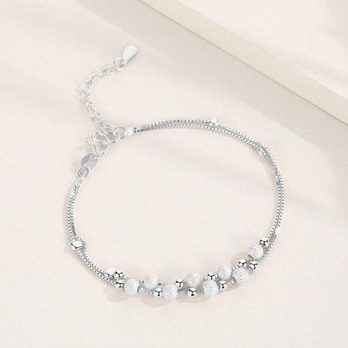 S925 Simple Sterling Silver round Beads Bracelet Women's Fashion Korean Style Cross-Border