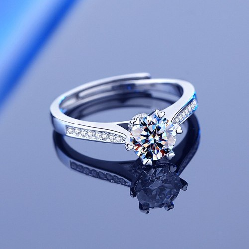Sterling Silver S925 Moissanite Ring Women's Classic Six-Claw 1 Karat Elegant Graceful Open-Mouth Diamond Ring