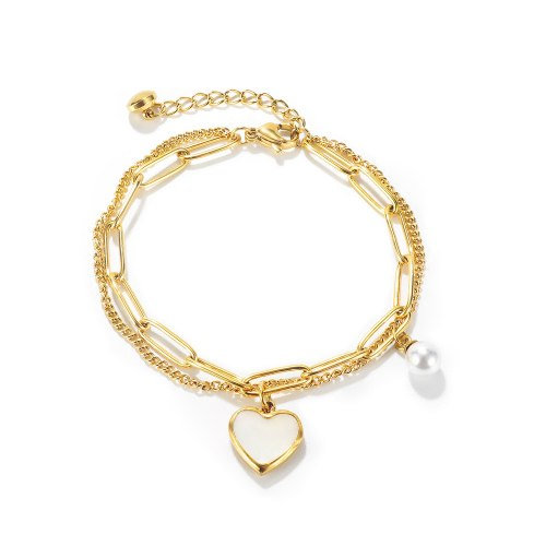 Ornament Online Celebrity Personality Double Layer Temperament Wild Peach Heart Pearl Stainless Steel Bracelet 1160