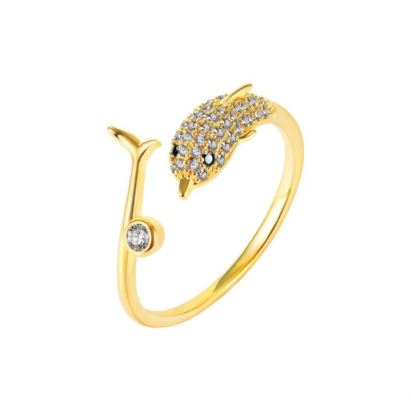 Ornament Minimalist Creative Dolphin Open Ring Ornament Tail Ring Jewelry Online Influencer Personality Affordable Luxury