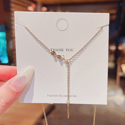 INS Trendy Super Fairy Simple Titanium Steel Necklace Female Tassel Pendant Design Sense Geometric Clavicle Chain