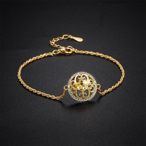 New Bracelet S925 Sterling Silver Gift Wholesale round Flowers Print Inlaid Zircon Women's Accessories