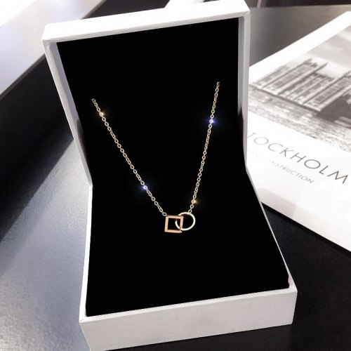 Korean Style Gold Rose Gold Titanium Steel Necklace Women's Geometric Simple Plated 18K Short Clavicle Chain Neck Chain