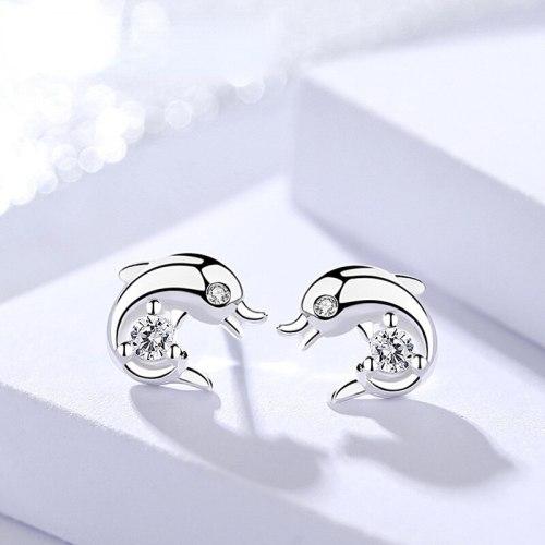 S925 Sterling Silver Dolphin Ear Studs Women's Cute Cartoon Minimalist Micro-Inlaid Ocean Animal Earrings Earrings
