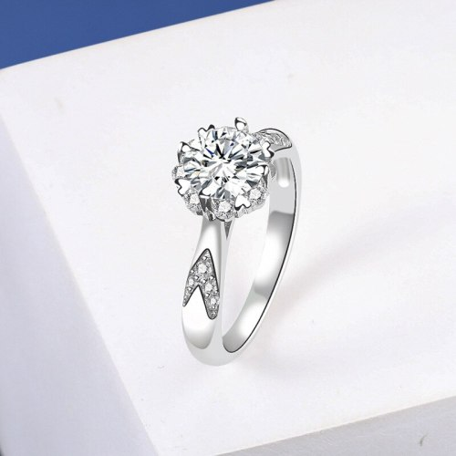 Internet Influencer Accessories Wholesale Classic Moissanite Ring Women's S925 Sterling Silver Moissanite Ring