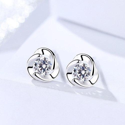 S925 Sterling Silver Earrings Korean Style Elegant Zircon-Encrusted Stud Earrings Twisted Flower Earrings Female Christmas Gift