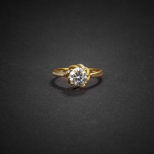 S925 Sterling Silver Rose Flower 1 Karat Ring Birthday Proposal Wedding Women's Ring Bracelet