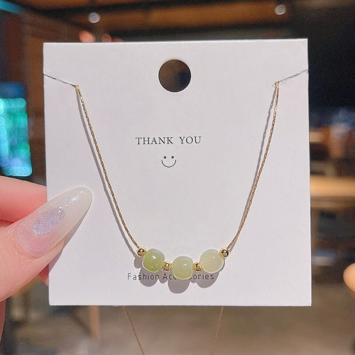 Lucky Beads Titanium Steel Necklace Female Ins Trendy Chalcedony Beads Pendant Niche Super Flash Design Sense Clavicle Chain