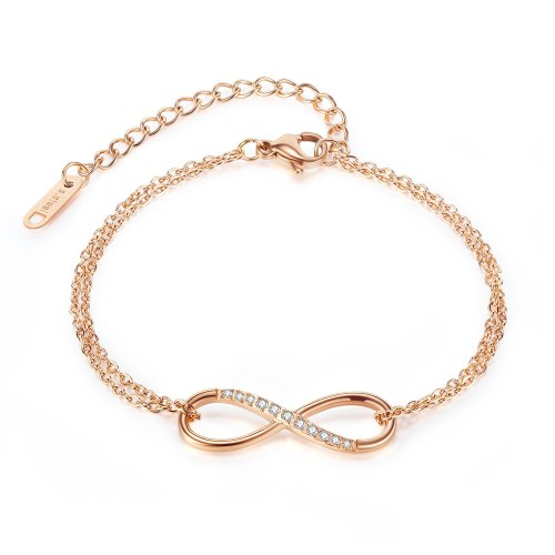 Ornament Internet Popular Stainless Steel Ins Special-Interest Design Fashion Simple Diamond-Embedded Double-Layer Bracelet