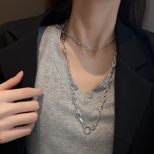 Double-Layer Titanium Steel Chain Necklace Female Ins Simple Clavicle Chain Pendant Temperament Sweater Chain