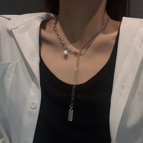 Hip Hop Necklace Female Fashion Ins European and American Simple Student Titanium Steel All-Match Retro Pendant Sweater Chain