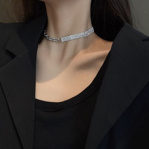 INS Necklace Female Clavicle Chain Full Diamond Personality Simple Collar Short Neckband Jewelry
