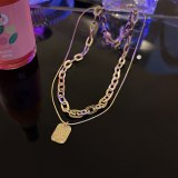 European and American Style Cool English Tag Ins Trendy Cool Hip Hop Fashion Graceful Personality Double-Layer Necklace