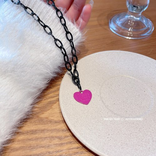 Korean Style New Ins Internet Celebrity Same Style Hip Hop Style Pink Love Pendant Necklace Female Unique Design Clavicle Chain