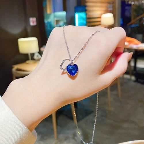 New Korean Style High-Grade Ocean Heart Blue Loving Heart Necklace Female Temperament Trendy Titanium Steel Necklace Wholesale