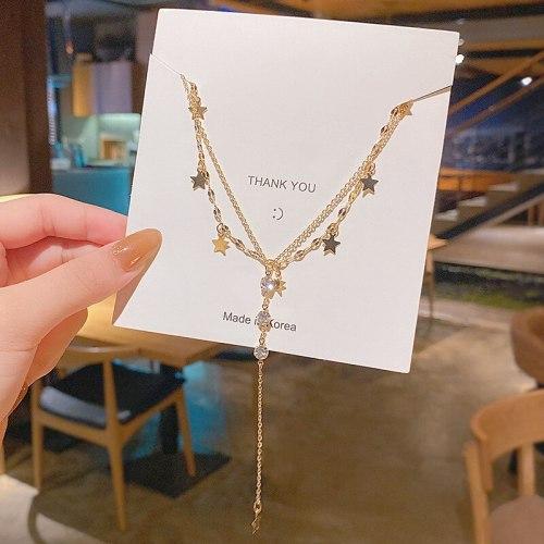 Titanium Steel Double-Layer Pentagram Zircon Tassel Necklace Female Popular Net Red Ins Niche Design Clavicle Chain
