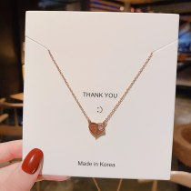 Korean Classic Stylish Graceful Simple Love Heart-Shape Lock Rose Gold Clavicle Chain Short Chain Qixi Gift Necklace for Women