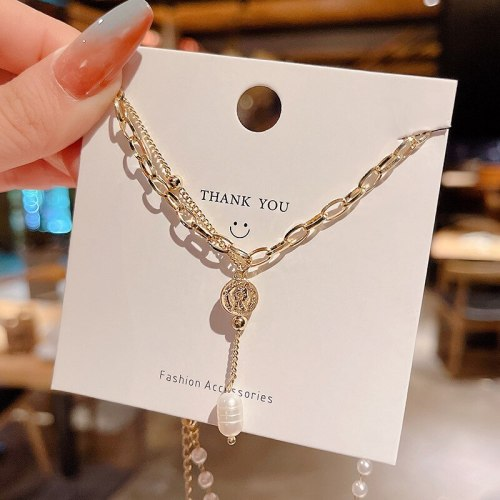 Japanese and Korean Baroque Style Graceful and Fashionable Necklace Women's Personalized Double-Layered Tassel Clavicle Chain