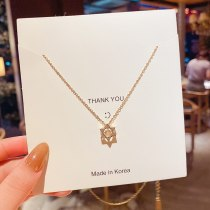 Fairy Temperamental Six-Pointed Star Micro-Inlaid High-Grade Necklace Women's Titanium Steel Small Clavicle Chain Wholesale