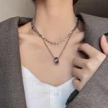 Titanium Steel European and American Double-Layer Chain Ring Necklace Men and Women Elegant Simple Couple Sweater Chain