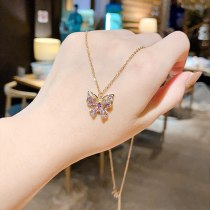 New Titanium Steel Butterfly Necklace Fashion Personality Purple Zircon Exquisite Super Flash Net Red Same Style Clavicle Chain