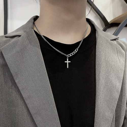 Cross Necklace Men's and Women's Hip Hop Pendant Ins Simple Trendy Titanium Steel Chain All-Matching Accessories Sweater Chain