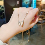 Titanium Steel Rhinestone Butterfly Necklace Female Popular Net Red Ins Trendy Cold Design Sense Necklace Short Clavicle Chain