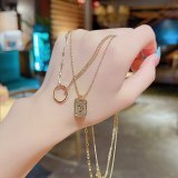 New Retro Avatar Double-Layer Titanium Steel Necklace Female European and American Exaggerated Temperament Clavicle Chain