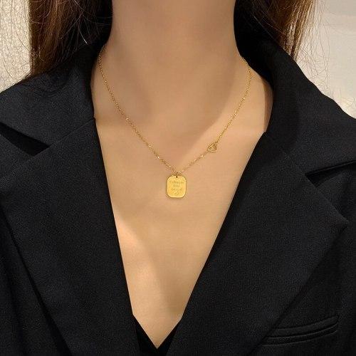 Titanium Steel Small Square Brand Necklace Female Clavicle Chain Love Fashion Popular Net Red Simple Niche Cool Couple's Pendant