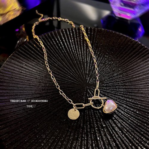 New Love Pearl Hip Hop Style Long Necklace for Women Ins Popular Net Red Same Style Graceful Personality Necklace