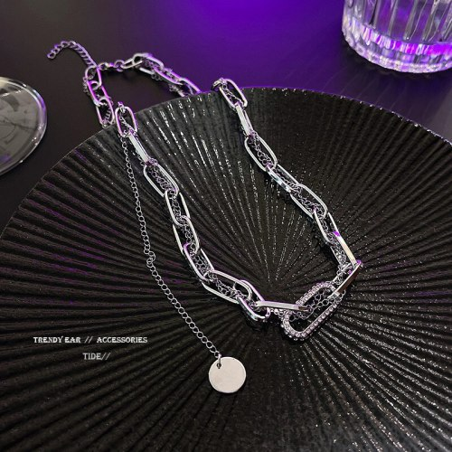 New Fashion Unique Geometric Titanium Steel Necklace Ins Internet Celebrity Same Style Temperament Thick Straps Clavicle Chain