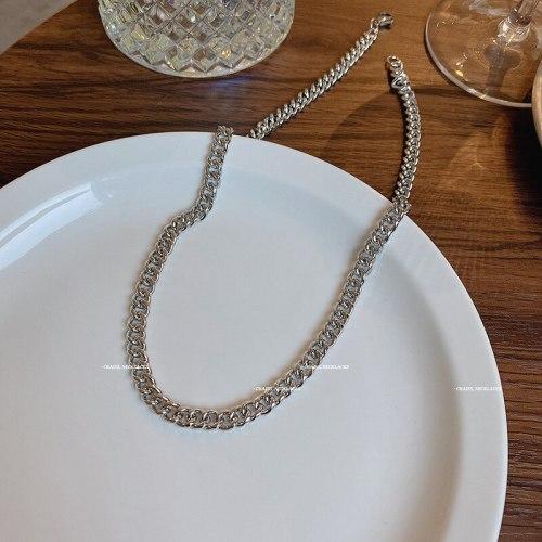 Titanium Steel Necklace Men's Ins Hip Hop Fashion Ins Trendy Japanese and Korean Style Simple Couple Cuban Chain