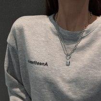 Fashion Sweater Chain Small Lock Necklace for Women Ins Trendy Simple Temperament Titanium Steel Clavicle Chain Pendant