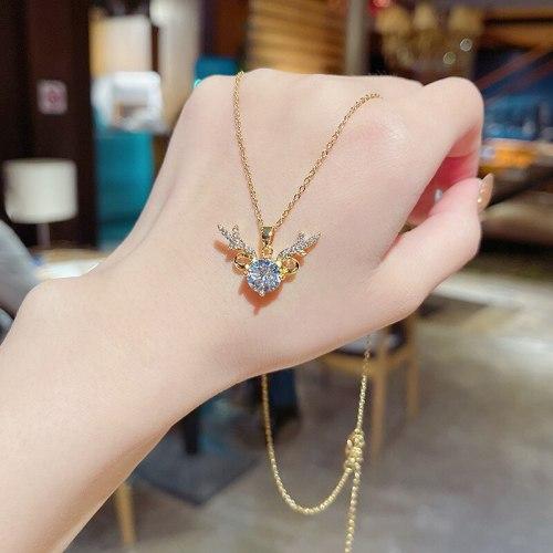 New Internet Celebrity Same Design Titanium Steel Necklace Female Simple Graceful Zircon Clavicle Chain