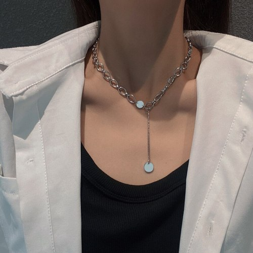 Hip Hop Style Necklace Female Fashion Ins European and American Simple Student Titanium Steel All-Match Retro Sweater Chain