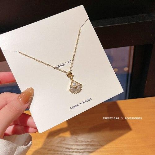 New Design Sense Fan Micro Inlaid Zircon Pearl Titanium Steel Clavicle Chain Simple Temperament Trendy Gift Necklace Women