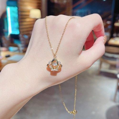 New Design Sense Crown Zircon Micro-Inlaid Titanium Steel Necklace Female Ins Popular Net Red Same Style Fashion Short Necklace