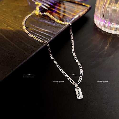 New Korean Style Ins Trendy Fashion Internet Celebrity Same Type Hip Hop Style Tag Necklace Women's Metal Clavicle Chain
