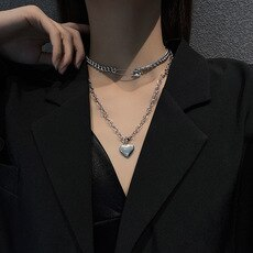 Korean New Hip Hop Style Long Necklace Women's 3D Small Love Titanium Steel Sweater Chain Student Double-Layer Chain Pendant