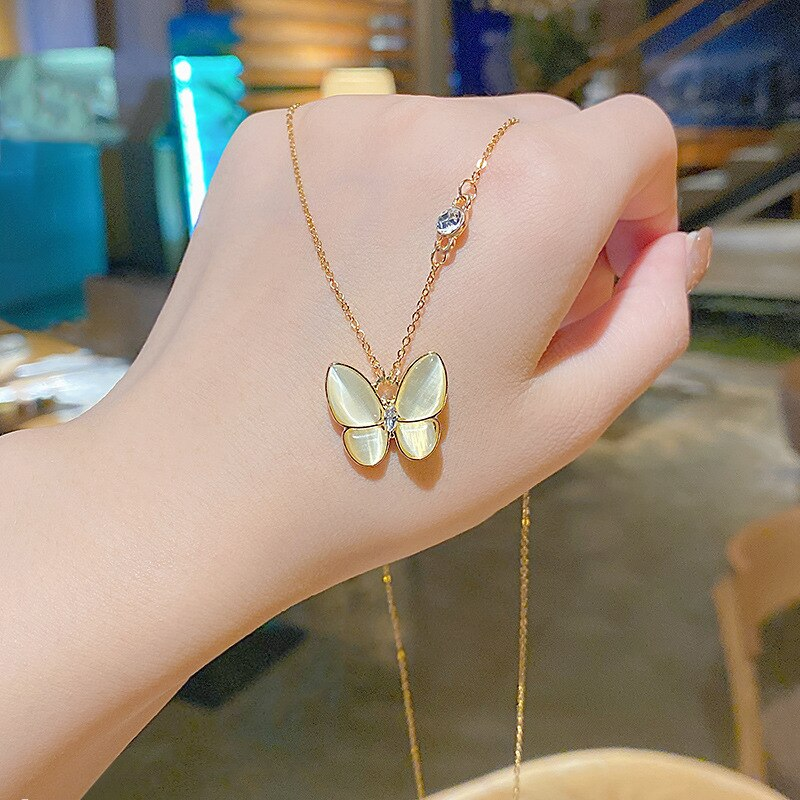 Opal Butterfly Necklace Female Popular Net Red Ins Cold Wind Niche Design Clavicle Chain Light Luxury Temperament Necklace