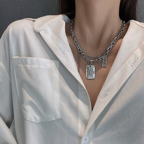 Autumn Winter Letters Square Plate Double-Layer Necklace Clavicle Chain Retro Elegant Hip Hop Style Ins Fashion Sweater Chain