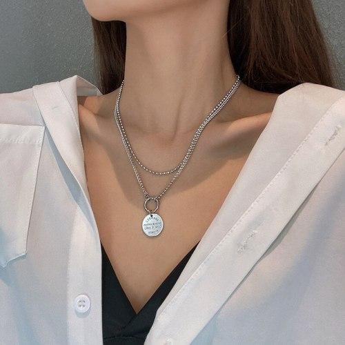 European and American round Brand Titanium Steel Necklace Women's Ins Fashion Pendant High-Grade Retro Sweater Chain