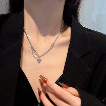 Simple Love Titanium Steel Necklace Unique Design Stitching Chain Temperament Fashion Normcore Style Clavicle Chain