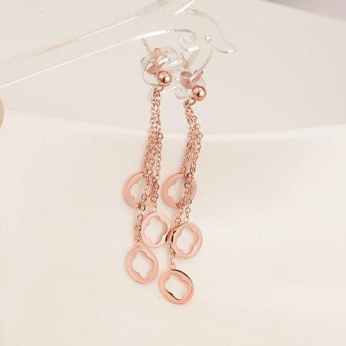 E100 Earrings Wholesale Personalized Tassel Rose Gold Earrings Women's Korean-Style Long Earrings Simple Style