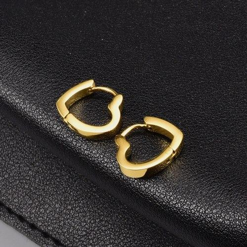 E118 Earrings Wholesale Elegant Geometric Square Heart-Shaped Stud Earrings Titanium Steel Plated 18K Gold Stud Earrings Women