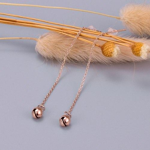 E51 Korean Earrings Simple Personality Temperament Long Tassel Titanium Steel Plated 18K Rose Gold Hanging Earrings Female